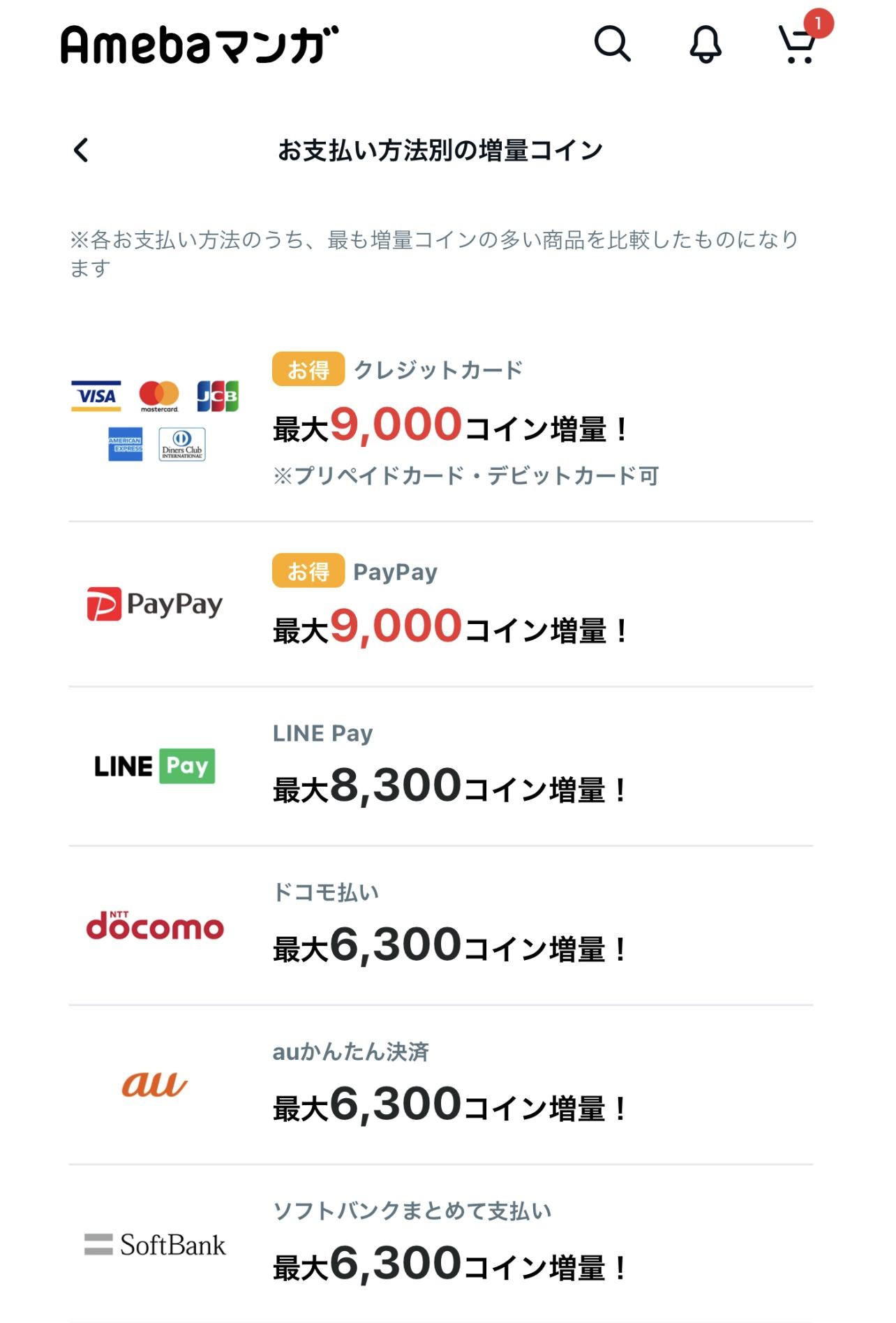 支払い方法と購入するマンガコインの枚数によって特典の枚数が変わる